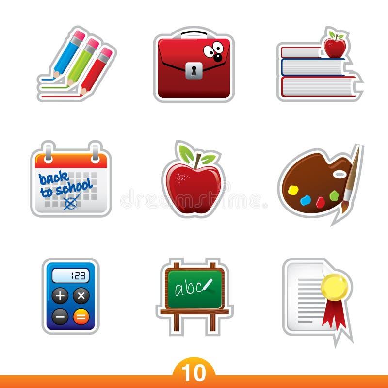 Icon sticker set - education stock illustration