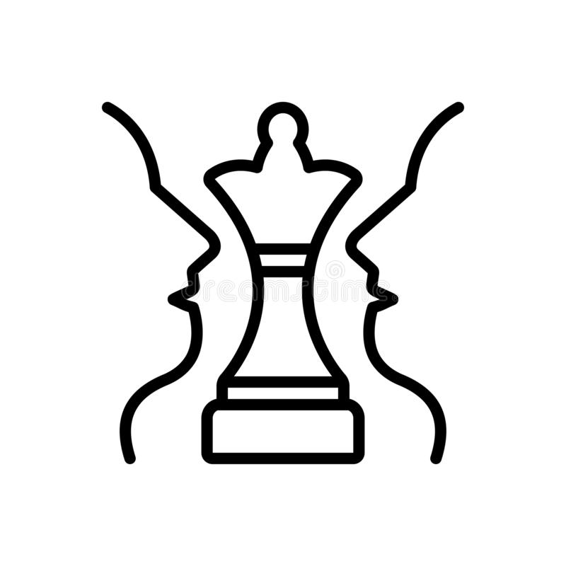 Black line icon for Strategic Plan, chess and challenge. Black line icon for Strategic Plan, achievement, decision,  chess and challenge stock illustration