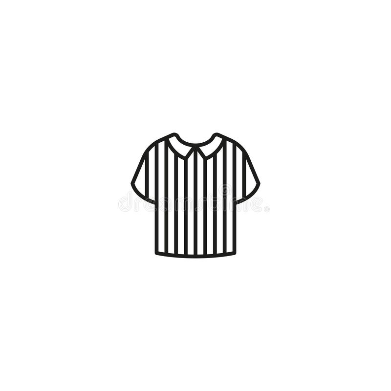 Icon of striped referee shirt. Minimalist design of black icon with striped shirt of football game referee uniform on white stock illustration