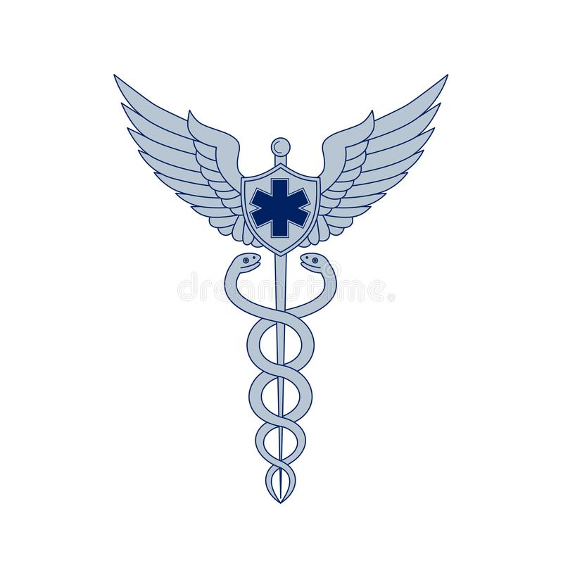 Caduceus With Pilot Wings EMT Star Icon. Icon style illustration of a Caduceus or Rod of Asclepius With two snakes winding around winged staff and Pilot Wings royalty free illustration