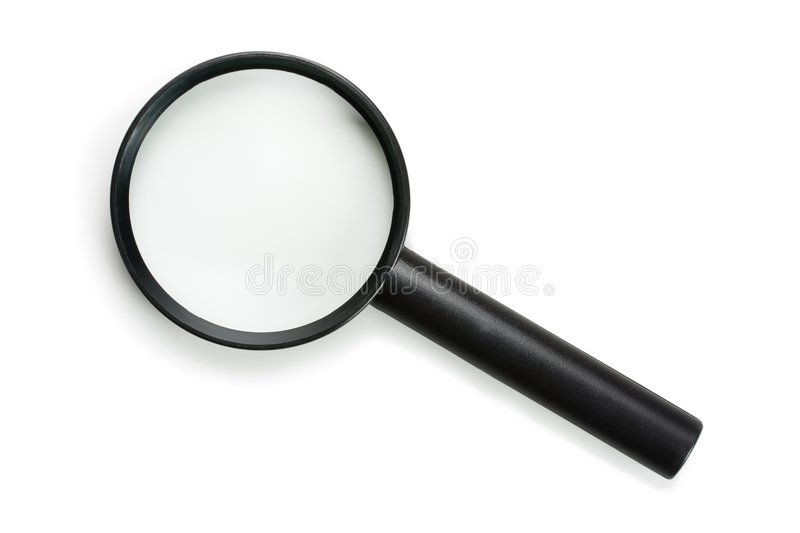 Icon style magnifying glass, isolated on white. Icon style magnifying glass, isolated on pure white (RGB 255 stock photo