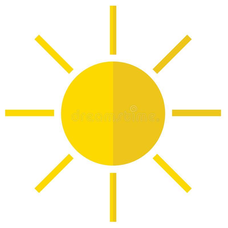 Icon of the sun. Flat icon of the sun stock illustration
