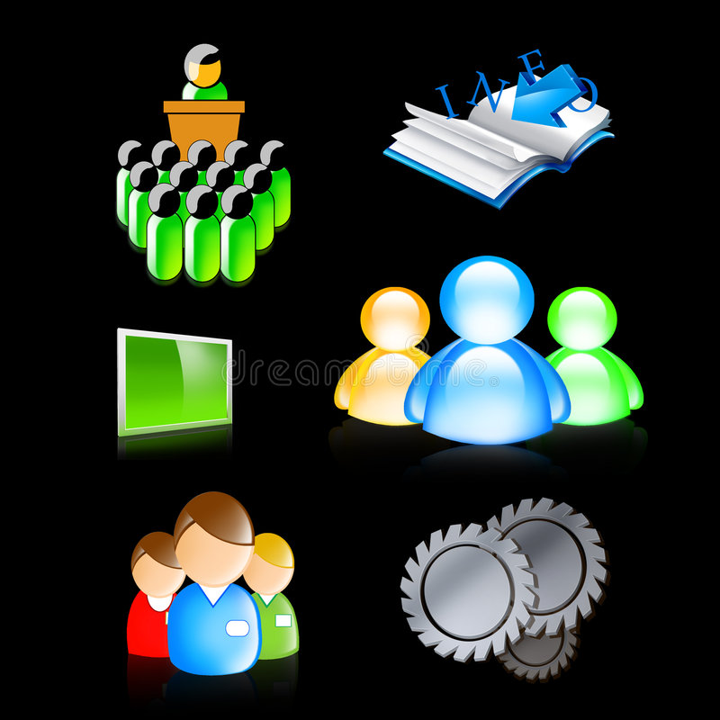 Icon, symbol, business, button. Icons of conference, information, search, engineering, industry, team work, display screen in big size royalty free illustration