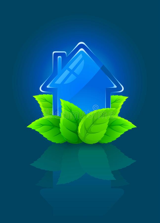 Icon symbol of ecological house with green leaves stock illustration