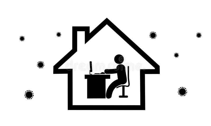 Icon-Symbol funktioniert von zu Hause aus stockbilder