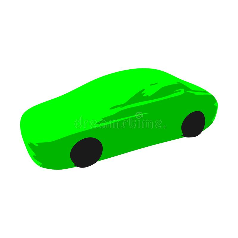 Icon green sport racing car on a white background. royalty free illustration