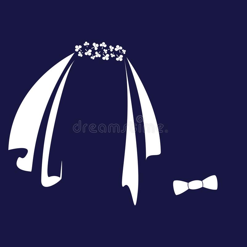 Icon symbols of the bride and groom. Vector illustration stylized veils and bow ties for festive design vector illustration