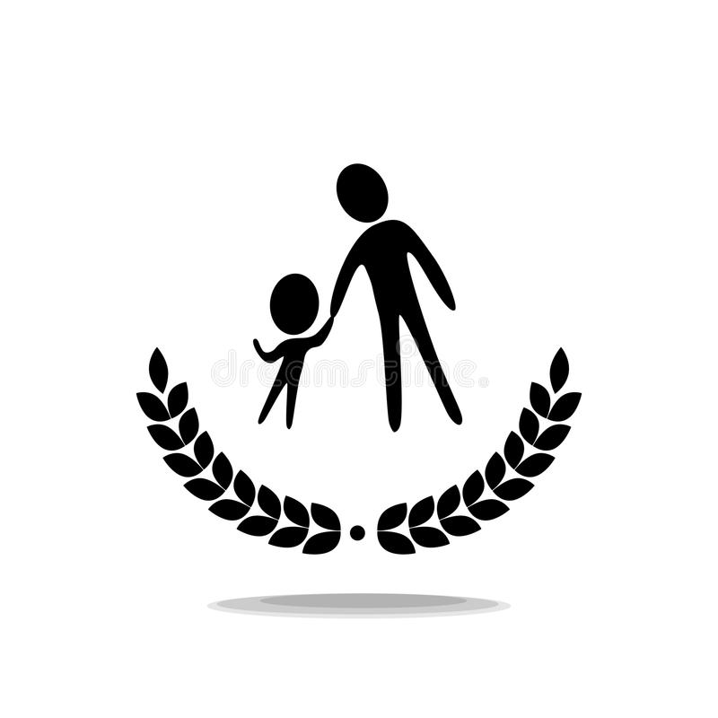 Icon. The teacher leads the child. Logo royalty free illustration