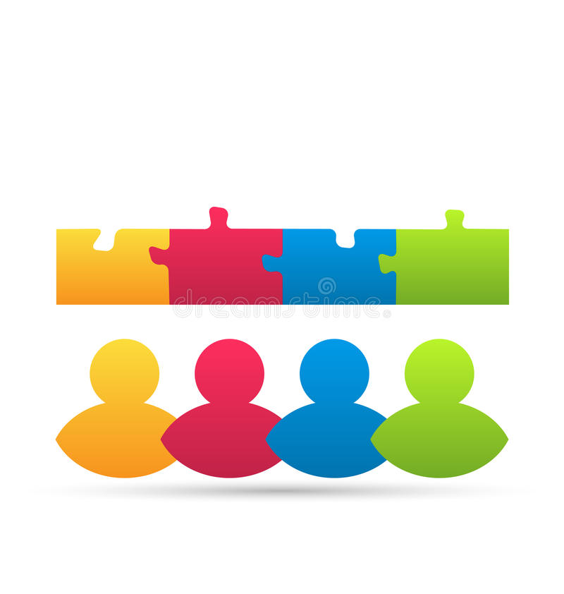Icon team of business people with jigsaw puzzle stock illustration