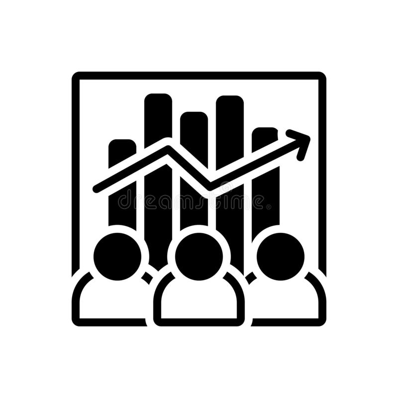 Black solid icon for Team Efficiency, capacity and competency. Black solid icon for Team Efficiency, ability, accomplish, analysis,  capacity and competency royalty free illustration