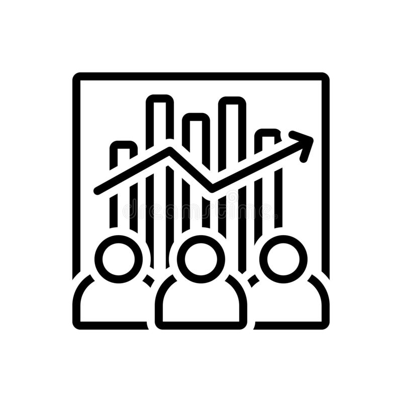Black line icon for Team Efficiency, capacity and competency. Black line icon for Team Efficiency, ability, accomplish, collaboration,  capacity and competency stock illustration