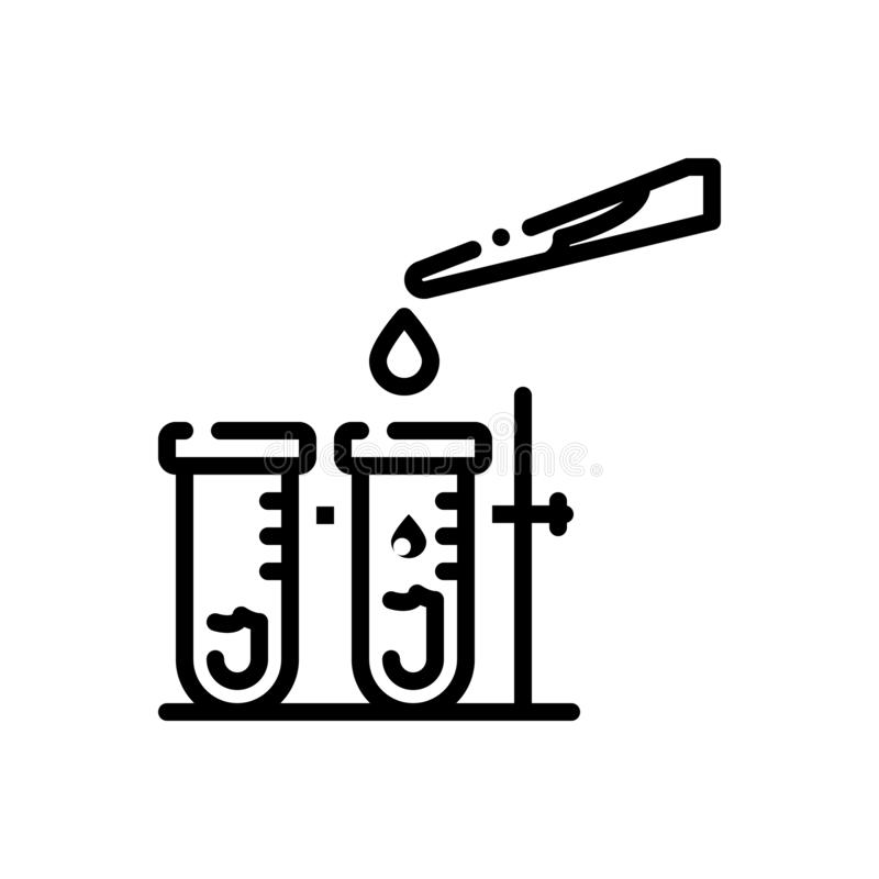 Black line icon for Testing, calibrate and test. Black line icon for testing, check, laboratory, experiment, miscellaneous,  calibrate and test vector illustration