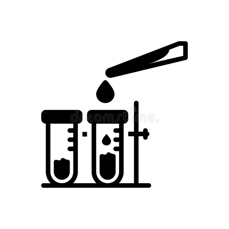 Black solid icon for Testing, calibrate and test. Black solid icon for Testing, check, laboratory, experiment, miscellaneous,  calibrate and test stock illustration