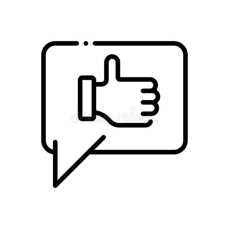 Black line icon for Thanks, gratitude and thankfulness stock illustration