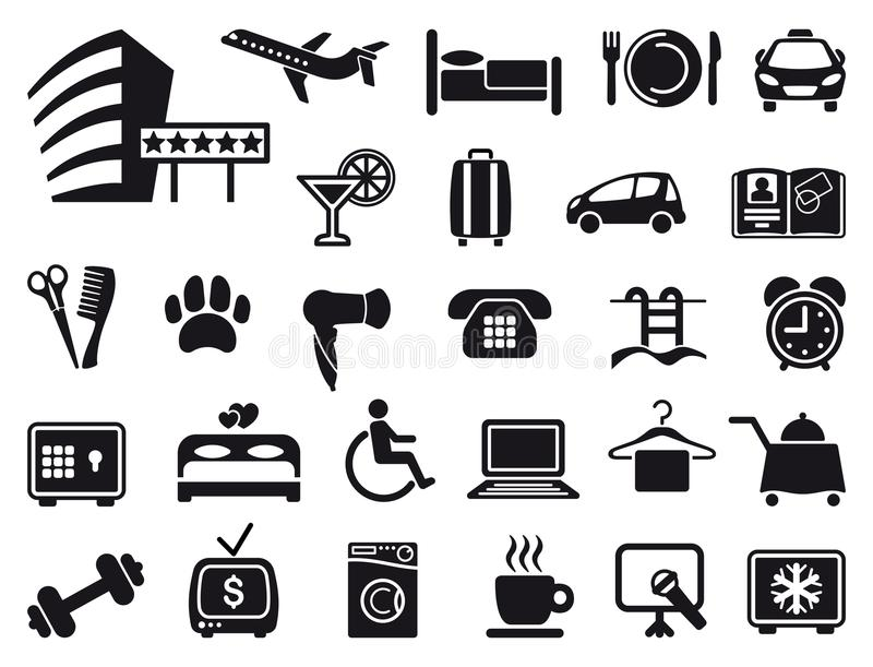 Icons on a hotel theme stock illustration