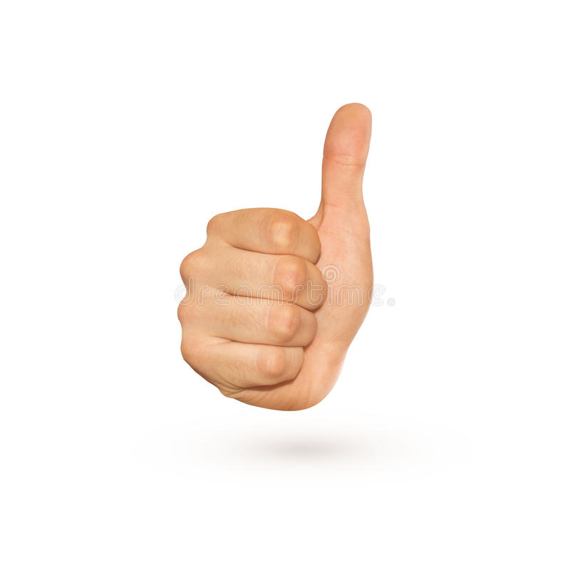 Icon of thumb up sign isolated on whiteitive hand. royalty free stock photo