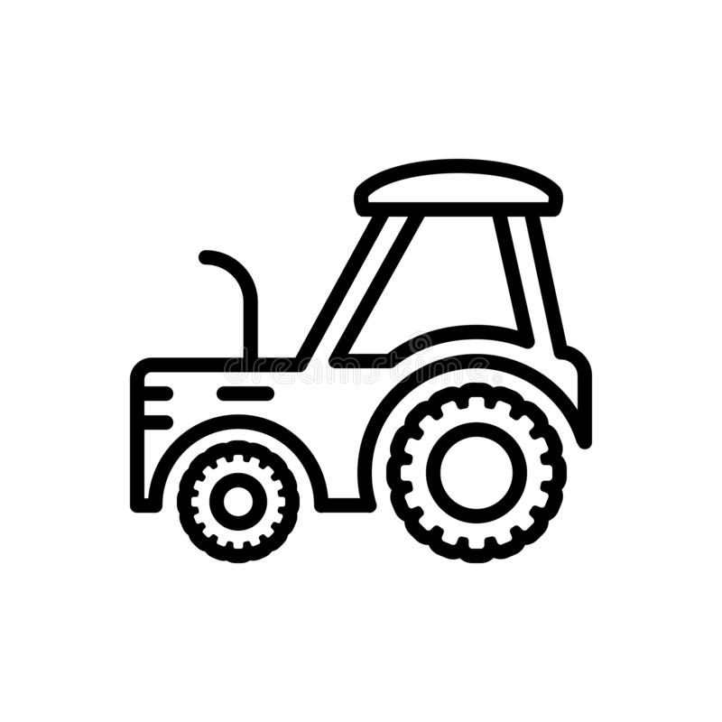 Black line icon for Tractor, farm and agriculture. Black line icon for  tractor, transportation, quad, skinner,  farm and agriculture stock illustration