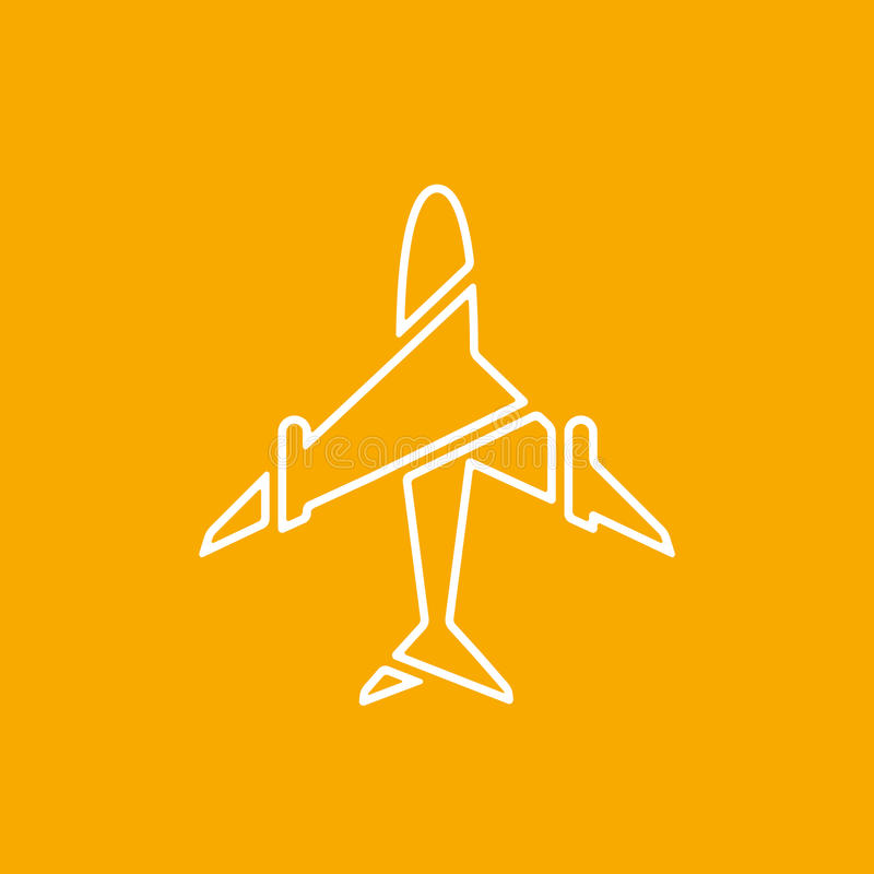 Icon of transparent airplane, plane on orange background vector illustration. Airport icon, airplane shape. White airplane icon. Vector design element for logo vector illustration