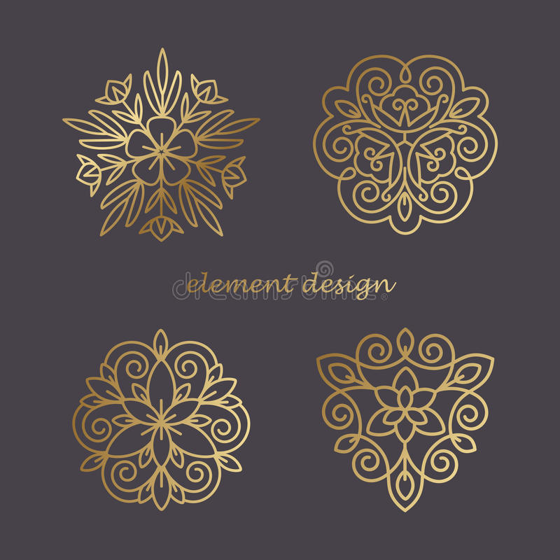 Icon Tree. Vector element.The icon of trees. Gold line on a black background. The concept for the organic store, advertising bio products, natural cosmetics royalty free illustration