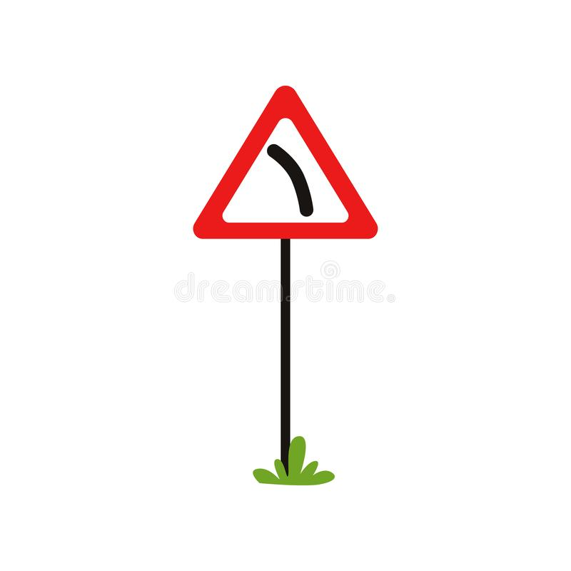 Icon of triangular warning sign dangerous turn left. Flat vector element for book of traffic rules, mobile app or royalty free illustration