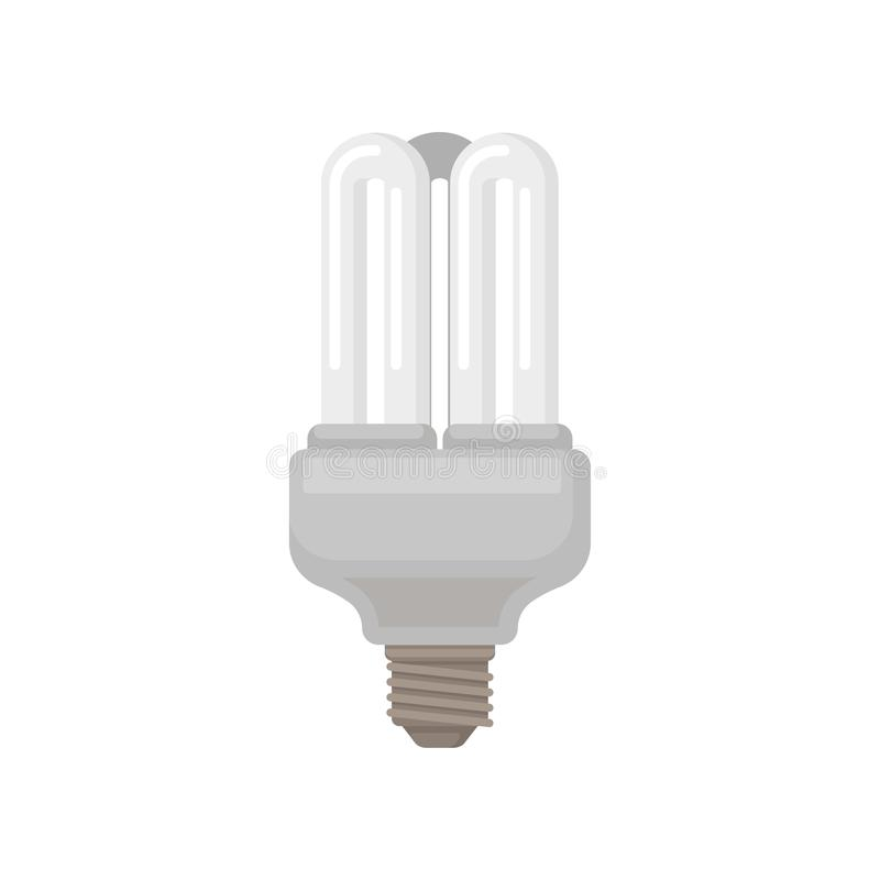 Flat vector icon of triple tube compact fluorescent lamp. Energy-saving light bulb. Element for promo poster of stock illustration