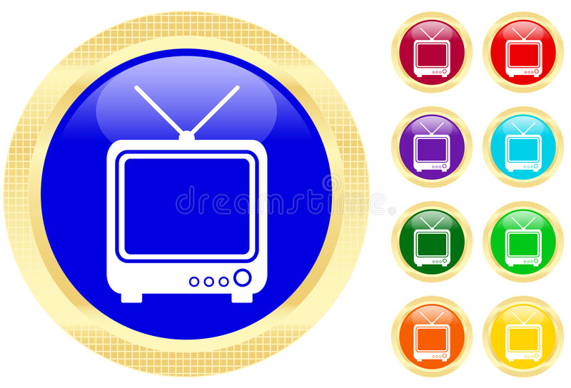 Icon of TV. Vector illustration of a TV on buttons stock illustration