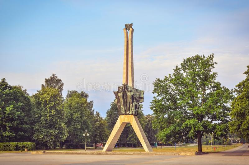 Icon of Tychy city in Poland. TYCHY, POLAND - JULY 7, 2017: Icon of Tychy city in Poland. Monument of struggle and work in a city park stock photography