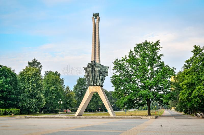 Icon of Tychy city in Poland. TYCHY, POLAND - JULY 7, 2017: Icon of Tychy city in Poland. Monument of struggle and work in a city park royalty free stock photos