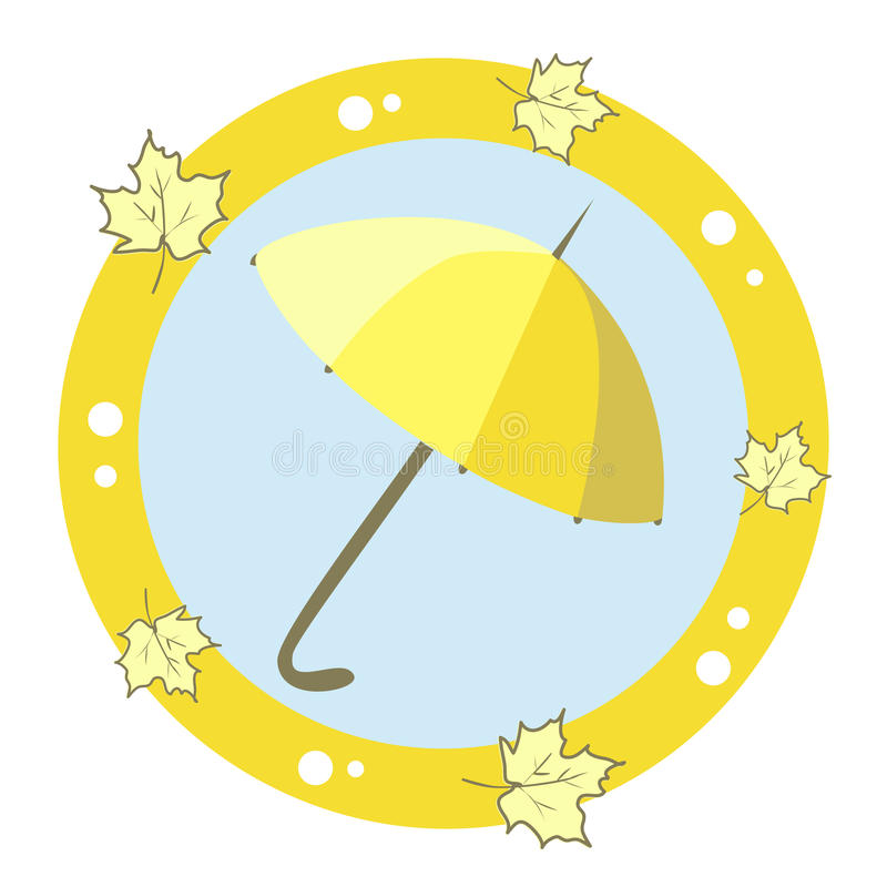 Icon With An Umbrella And Maple Leaves Royalty Free Stock Photo