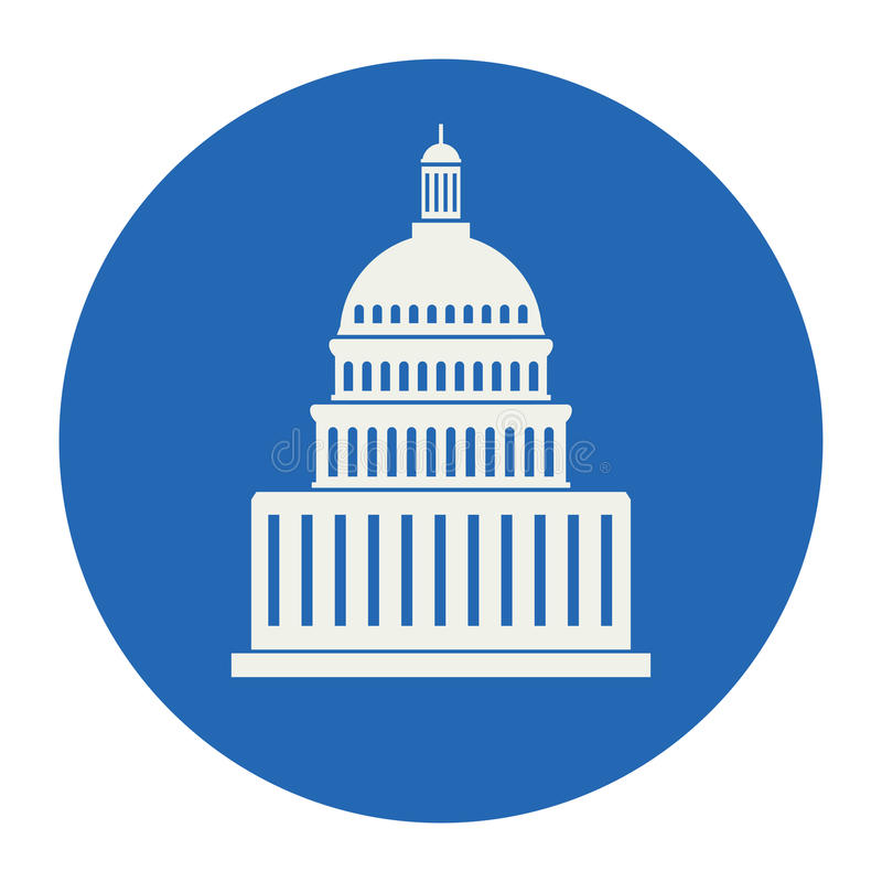 Icon of united states capitol hill building, vector stock illustration