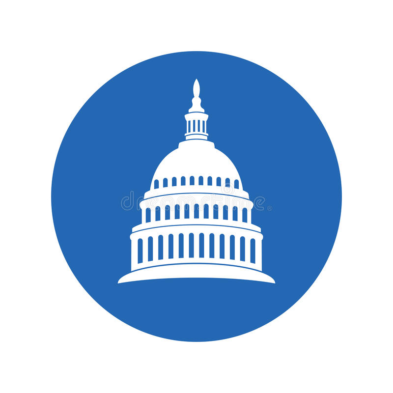 Icon of united states capitol hill building washington dc. vector vector illustration
