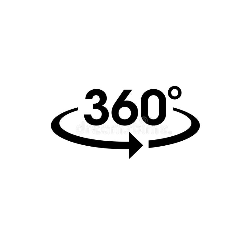 Icon vector of 360-degree app for 360-area view and circular arrows. royalty free illustration