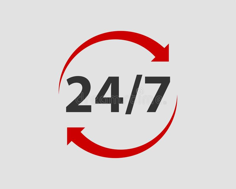 24/7 icon vector. 24 hour service clock royalty free illustration