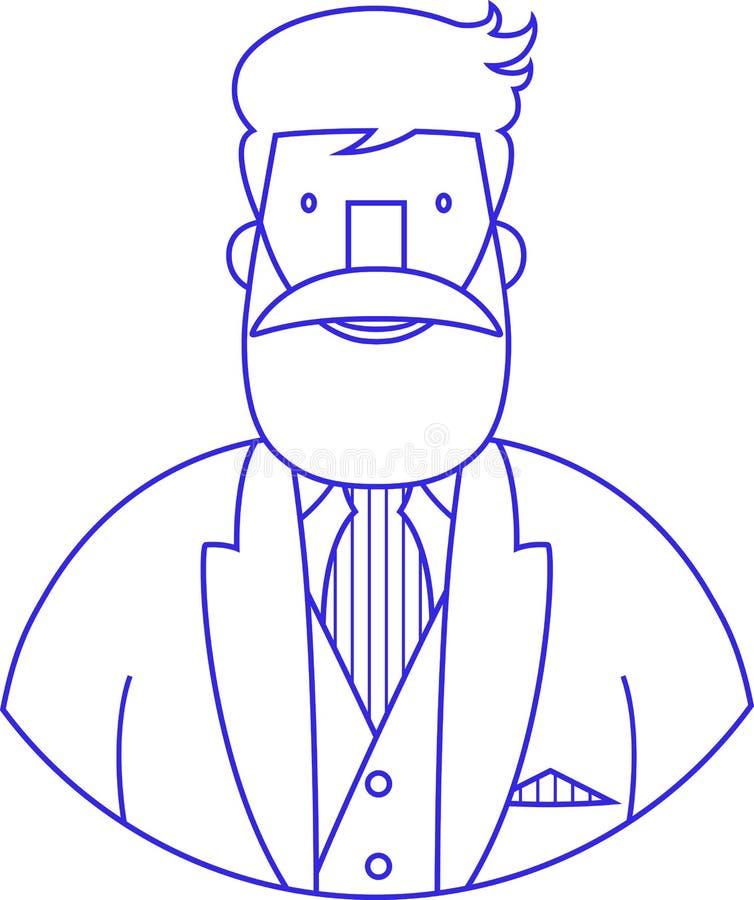 Icon vector portrait blue sign of elegant bearded hipster stock illustration