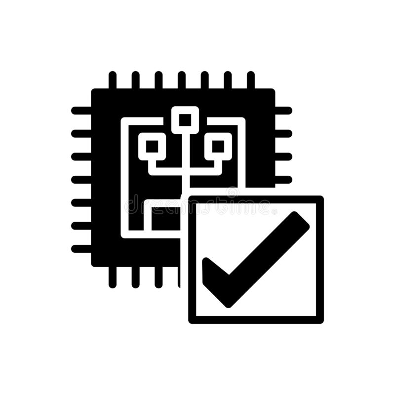 Black solid icon for verify, calibrate and inquire. Black solid icon for verify, investigate, user, interface,  calibrate and inquire royalty free illustration