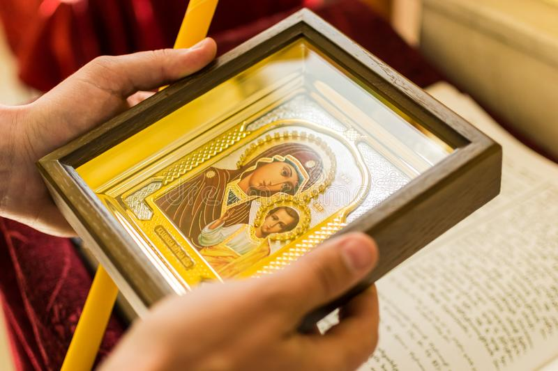 Icon of the virgin Mary on the altar royalty free stock photos