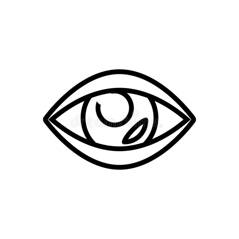 Black line icon for Vision, see and view. Black line icon for Vision, look, sight, watch, eyesight, peep, eyeball,  see and view vector illustration