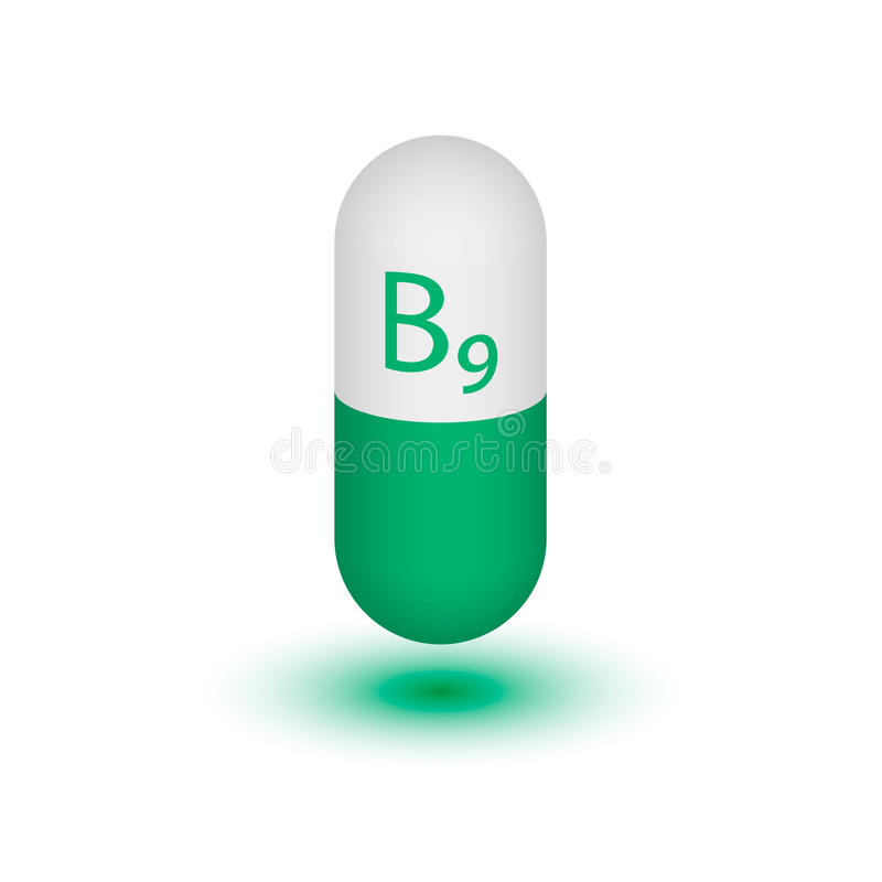 The icon of the vitamin B9. Folic acid vitamin drops tablets . Beauty treatment food design skin care. Vector illustration. Design element. Two-tone capsule royalty free illustration