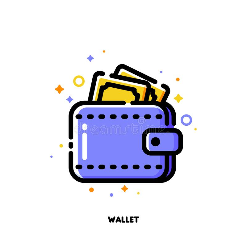 Icon of wallet with banknotes for shopping and retail concept. Flat filled outline style. Pixel perfect 64x64. Editable stroke vector illustration