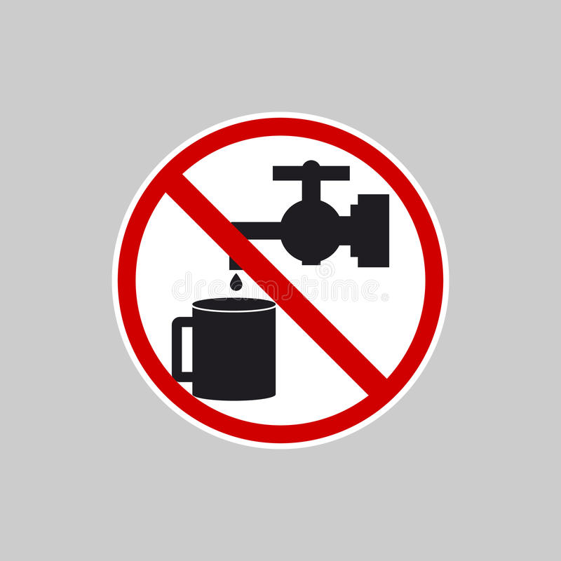Icon Water Faucet Crossed Out In Red Circle Stock Illustration ...