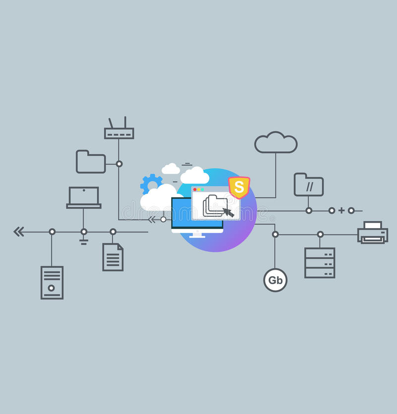 Icon for website and mobile application. Flat design. Technology Communication. Cloud data and network technologies royalty free illustration