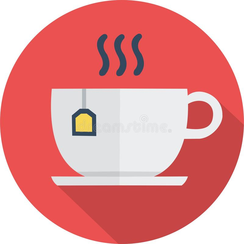 Icon white cup buisness vector illustration. Circle red flat icon buisness white cup illustration vector royalty free illustration