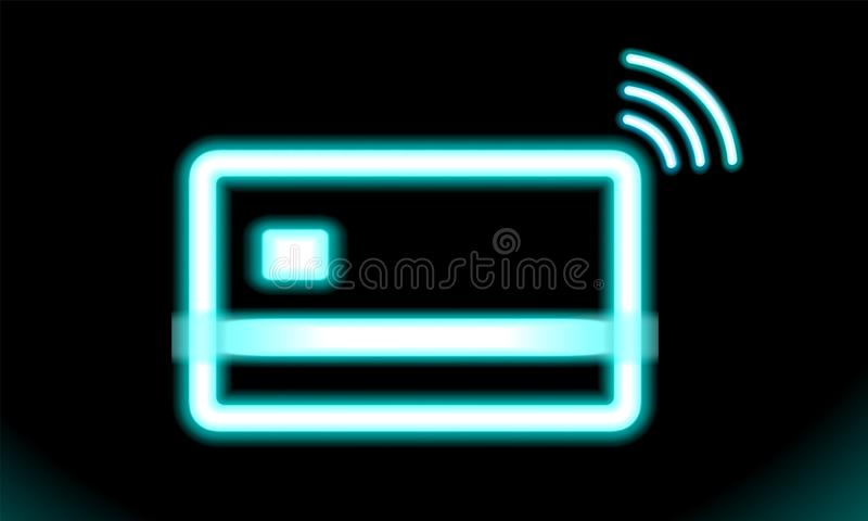 Icon wi-fi contactless, wireless pay sign logo. NFC technology credit card. Blue Neon lamp, sign, button for design on black. royalty free illustration