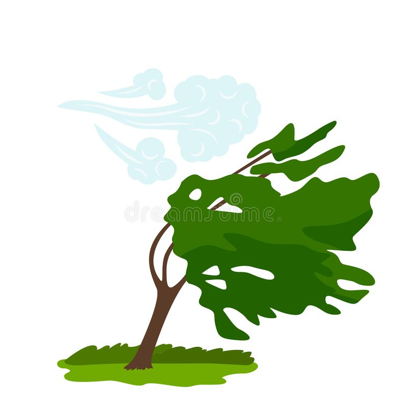 The icon of the wind that bends the green tree. concept of weather, tornado and other elements of nature. flat vector vector illustration