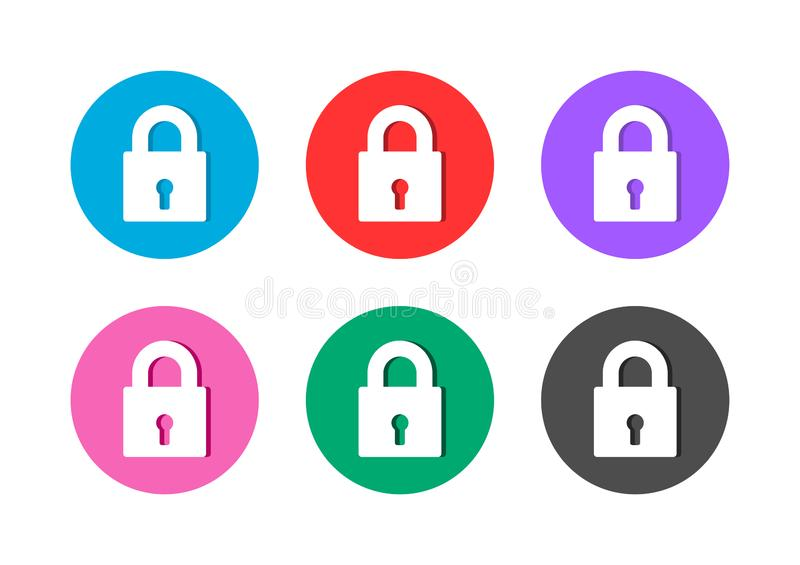 Padlock icon button royalty free illustration