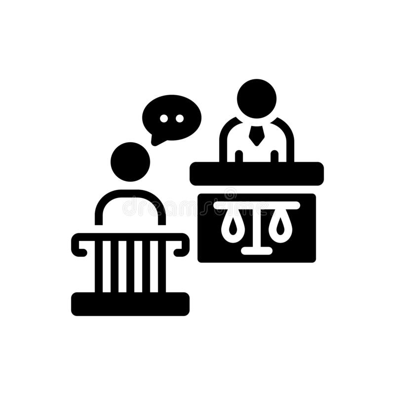 Black solid icon for Witness, testify and authority. Black solid icon for Witness, court, courthouse, crime, desk,  testify and authority royalty free illustration