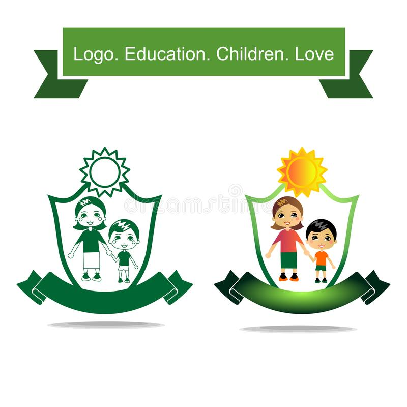 Icon woman holding a child`s hand. A healthy family and private education. vector illustration