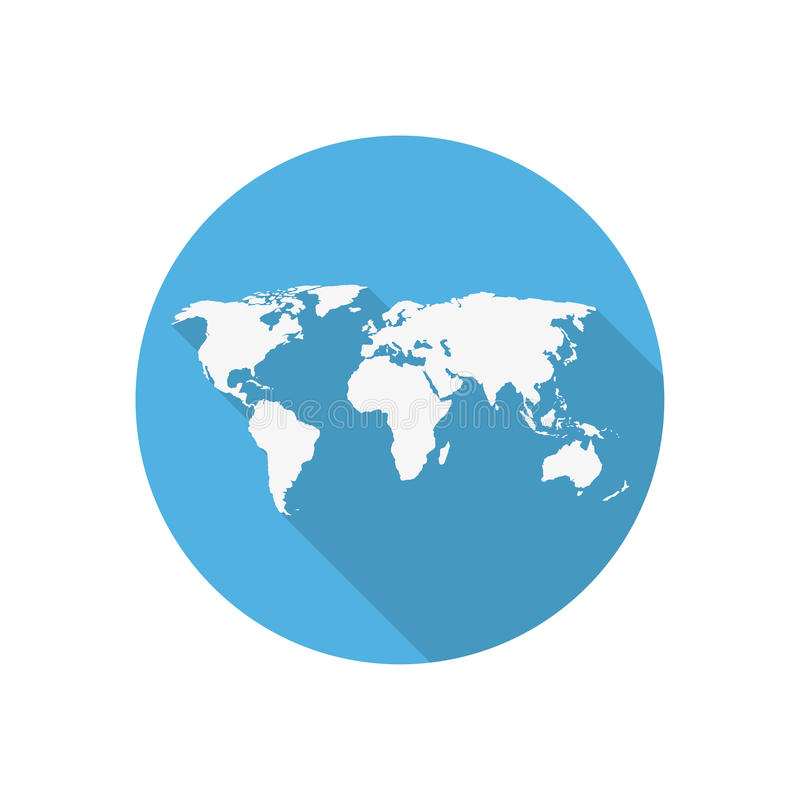 Icon world map on a blue circle in a flat design stock vector download icon world map on a blue circle in a flat design stock vector illustration gumiabroncs Images
