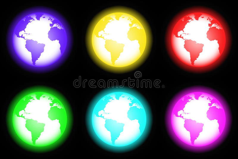 Icon world neon style (01) stock photography