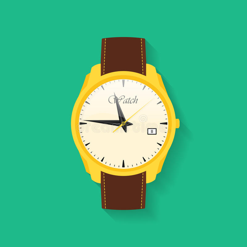 Icon of wrist watch. Symbol of hand clock. Vector illustration of timepiece, chronometer royalty free illustration